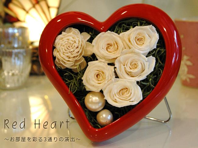 Red Heart(ホワイト):プリザーブドフラワー