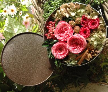 詳細2Round Gift Box (M) Pink:プリザーブドフラワー