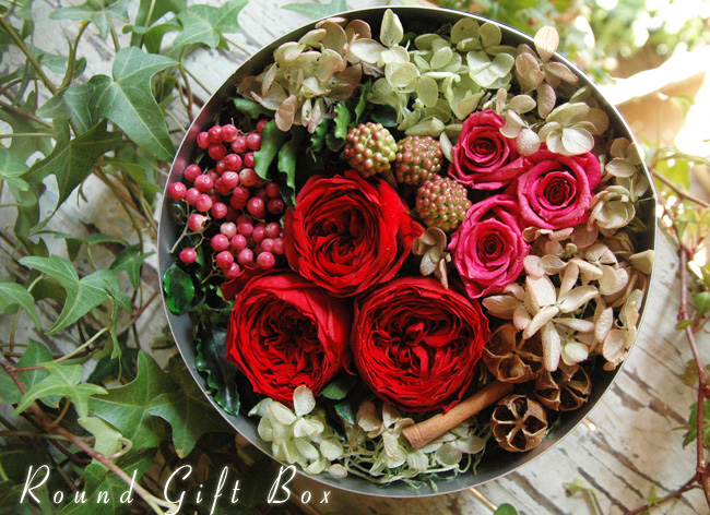 Round Gift Box (M) Red:プリザーブドフラワー