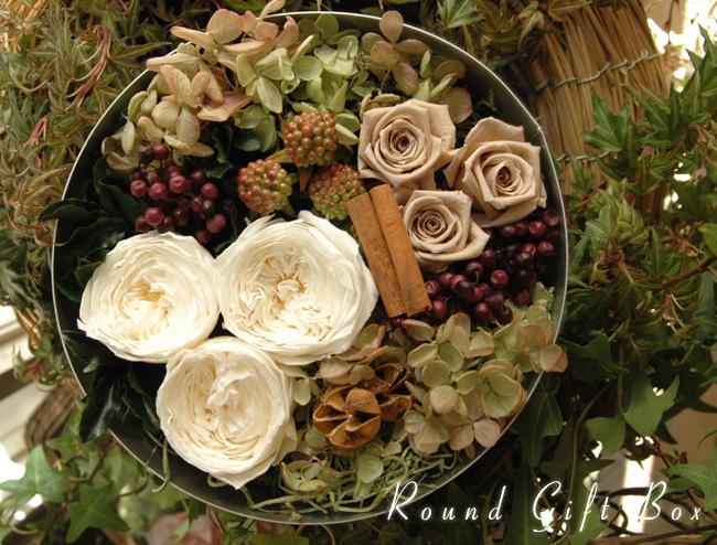 Round Gift Box (M) White:プリザーブドフラワー