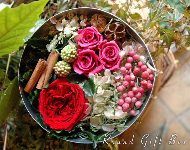 Round Gift Box (S) Red:プリザーブドフラワー