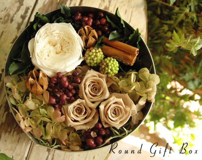 Round Gift Box (S) White:プリザーブドフラワー