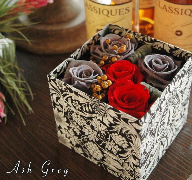 Libery Print Box (Ash Grey):プリザーブドフラワー